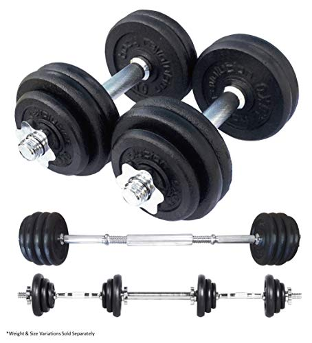 Body Revolution Adjustable Dumbbells – Cast Iron Dumbbell Set – Cast Iron Weights with Spinlock Collars and Barbell Link Connector – Various Weight Options Sold Separately (15kg)