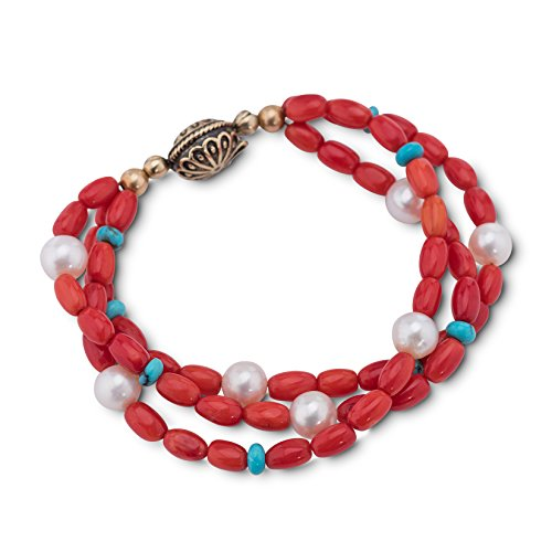 American West Brass Red Coral, Turquoise and Pearl Magnetic Beaded Bracelet Size Large