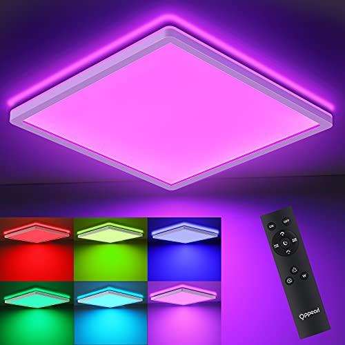 Lámpara de techo LED RGB plana con mando a distancia, OPPEARL, lámpara LED de techo con cambio de color, ultrafina, 18 W, 1800 lm, lámpara para salón, comedor, dormitorio, cocina, pasillo, 4000 K