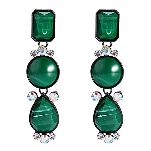 WECDS-E Pendientes Europa y América Pendientes exagerados Pendientes de Diamantes de Varias Capas de Resina Joyería de Moda Simple con Pendientes Estilo INS de Mujer (Color: Color)