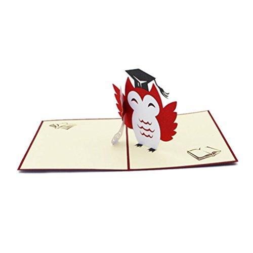 LUOEM Abschluss-Gruß-Karten-Abschluss-Kappe 3D Pop-up-Karten-handgemachte Abschluss-Einladungs-Karten Rat-Absolvent-Karten für Abschlussfeier