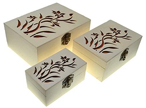 3 rechthoekige dozen Bloem Nestkasten Schatkist (3 pakketten) Houten schatkist Klassieke decoratieve opslag Houten ambachten cadeau Houten dozen Juwelendoos Geschenk