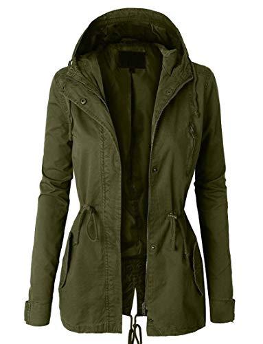 SELX Women Plus Size Hooded Mid Length Fall Plain Windbreaker Trench Coat Jacket Armygre XL