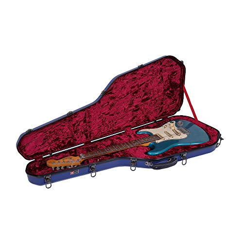 Crossrock Fiberglass Case for Telecaster and Stratocaster Style in Navy Blue Electric Guitar (CRF1000GSTNVBL)