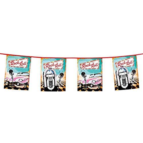 Boland 44850 Wimpelkette Rock´n Roll, 1 Stück, 50er, 60er Jahre, Musikbox, Mikrofon, Cadilac, Fahnenkette, Kunststoffgirlande, Hängedekoration, Karneval, Mottoparty, Geburtstag, 600 cm