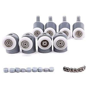 Puerta de ducha rodillos ruedas para puerta de ducha con ruedas, 4 x alto y 4 x bajo cuarto de baño, 23 mm