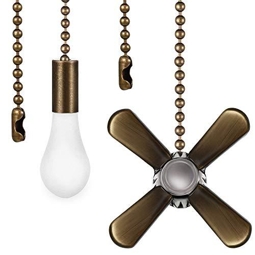 2 Stücke Zugkettenset in Form Eines Metallventilators und Einer Glühbirne mit Stecker, 1 Stück Verlängerungsperlen Zugkette im Karton (Bronze)