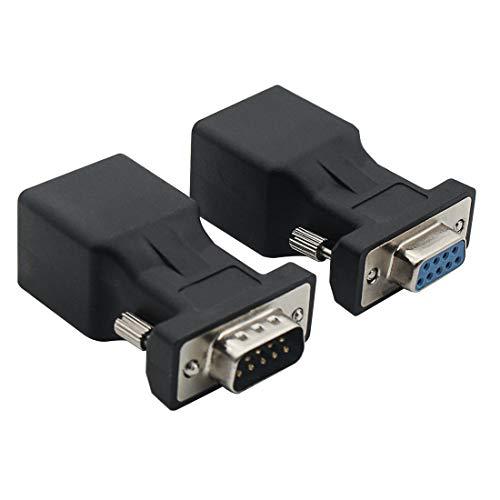DB9 RS232 Stecker auf RJ45 Stecker Karte DB9 Serial Port Extender zu LAN CAT5 CAT6 RJ45 Netzwerk Ethernet Kabel Adapter DB9 Male to RJ45 and DB9 Female to RJ45