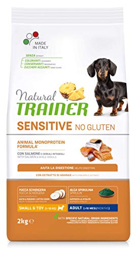 Natural Trainer Sensitive No Gluten - Cibo per Cani Small&Toy Adult con Salmone e Cereali Integrali 2kg