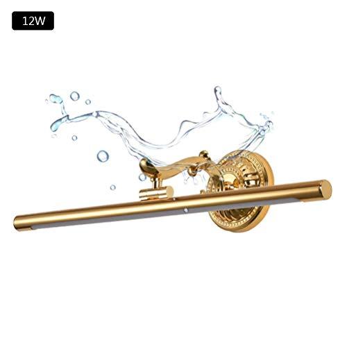 ABMOS LED Spiegelleuchte Vintage,Spiegellampe Badlampe Retro Wandleuchte Badleuchte Antik Schminklicht Für Schminktisch Spiegel Badzimmer,Wasserdicht,4200K-L65CM/12W Gold