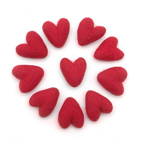 "Glaciart One Red Felted Hearts - Needle Felting & Essential Oils Ready - Handmade in Nepal Using 100% Natural New Zealand Wool, for Art Projects, Garlands & Valentine's Decor - 1.5"", Set of 10"