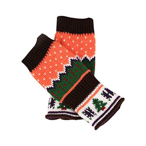 Fenical vrouwen winter warm gebreide haak handschoenen kerstboom patroon lange vingerloze arm Warmers handschoenen wanten met duim gat (koffie)