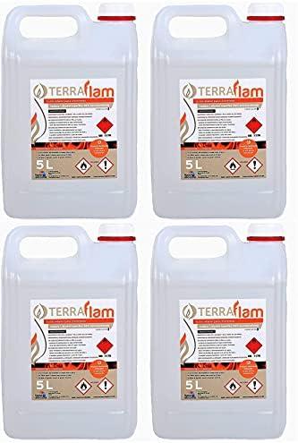 Terraflam Lot de 4bidons de bioéthanol pour lampes et cheminées - Combustion de grande qualité - Ne génère pas de fu...