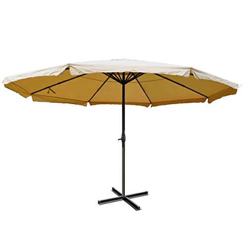 Sonnenschirm Meran Pro, Gastronomie Marktschirm mit Volant Ø 5m Polyester/Alu 28kg - Creme ohne Ständer