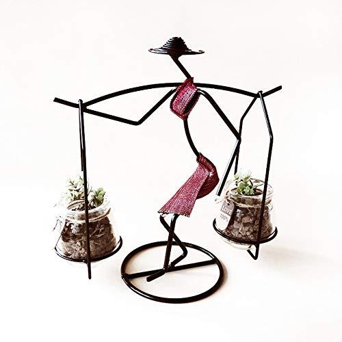 LSX Inicio Elegante Creativo carnoso Soporte hidropónico Micro Paisaje Marco Hombro Mujer Simple Hierro artesanías decoración Estilo Pastoral