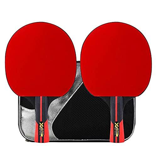 HXFENA Raquetas de Tenis de Mesa,Palas de Ping Pong Ofensiva de 3 Estrellas Madera Pura de 5 Capas Esponja de Alta Elasticidad para Entrenamiento BáSico Principiantes/A/mango l