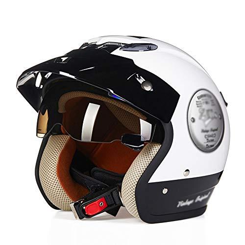 HongTong Cascos Casco de la Motocicleta, con Gafas de Sol, Medio Casco, Casco Retro, ventilado y Transpirable, Opcionales (Color : White, Size : X-Large)
