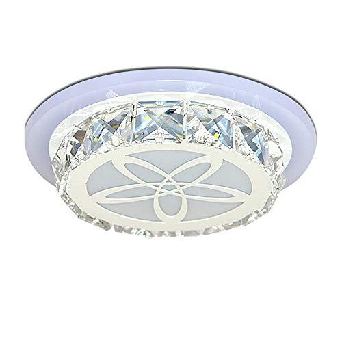 LED kristallen plafondlamp, Modern RVS vloerlampen, plafondlamp voor hal/gang, balkon/trappen/keuken eiland decoratieve lamp, chroom, blauw licht, 10 W, Ø19 cm