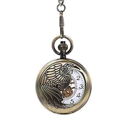 J-Love Gran Ahueca hacia Fuera el Exquisito águila Totem Reloj de Bolsillo Blanco Ahueca hacia Fuera el Oro Reloj de Bolsillo mecánico Digital