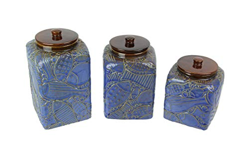 Mayrich Set of 3 Blue/Brown Fish Design Ceramic Kitchen Canisters