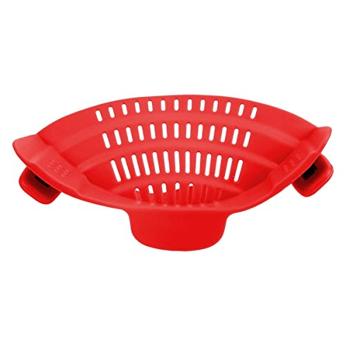 SNUIX Silikon-Küchensieb, Entwässern überschüssiger Flüssigkeit Clip Pan Abfluss Rack-Bowl-Trichter-Kochgeschirr Reis Nudeln Gemüsewasch Seiher (Farbe : Rot, Size : One Size)