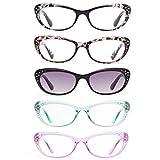 Amorays Confezione da 5 Anti-Blu Occhiali da lettura per strass Cat Eye per donne Diamanti Sfumature Lettori da donna Bling Style L3705(+2.00)