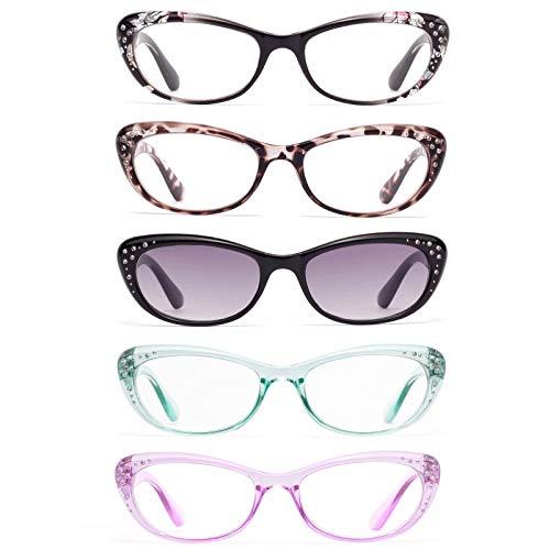 Amorays Confezione da 5 Anti-Blu Occhiali da lettura per strass Cat Eye per donne Diamanti Sfumature Lettori da donna Bling Style L3705