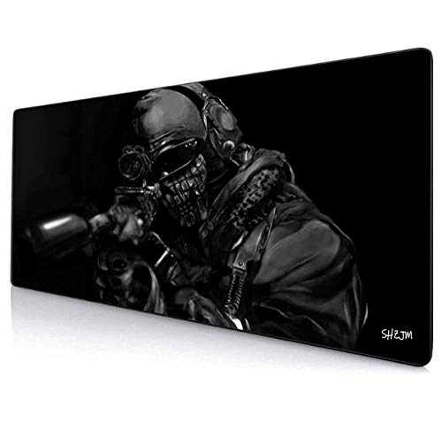 Mouse Pads Black Extended Mouse Pad Call of Duty Large Gaming Mouse Pad Computer Keyboard Mouse Mat Non Slip Mousepad Rubber Base and Stitched Edges for Game Players Office Study 27.5'X 11.8'