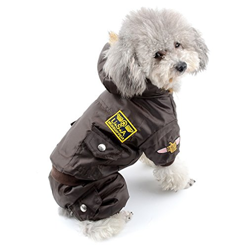 SELMAI Waterproof Fleece Lined Dog Winter Coat Snow Suit Airman Hooded Jumpsuit Snowsuits for Small Dog Puppy Chihuahua Brown XL