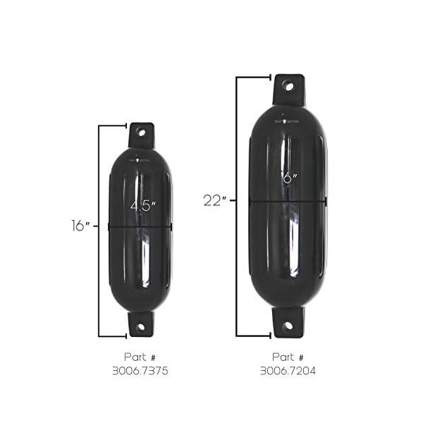 "Extreme Max 3006.7204 BoatTector Fender Value 2-Pack, 6"" x 22"" - Black"
