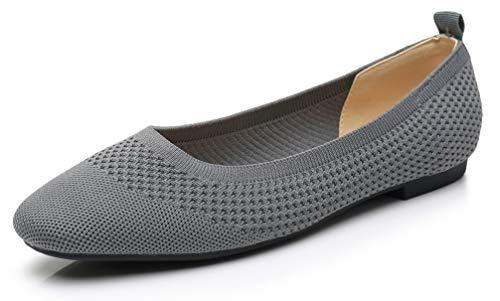 VenusCelia Women s Flexible Knit Flat Shoe (7.5 M US Gray)