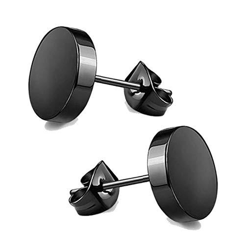 6 pares de aretes de acero inoxidable para hombres, mujeres, pendientes redondos con circonita cúbica, color negro, 3-10 mm, 1 par A, 4 mm