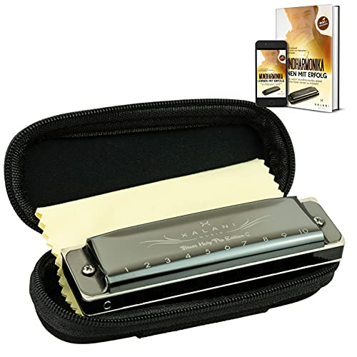 XALANI Mundharmonika inkl. Soft Case und Pflegetuch I Bonus: E-Book gratis I C-Dur Blues Harmonica mit Profi Klang