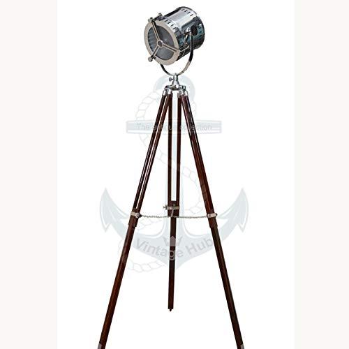 Vintage Hub Adjustable Chrome Tripod Floor Lamp Shade Floor Lamp Handmade Searchlight with Wooden Tripod Stand