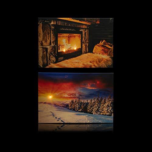 Online-Fuchs 2 LED Bilder mit Beleuchtung, Timer und Fernbedienung! - Leinwandbild 60 x 40 cm - Wandbild winterliche Stimmung mit Kamin