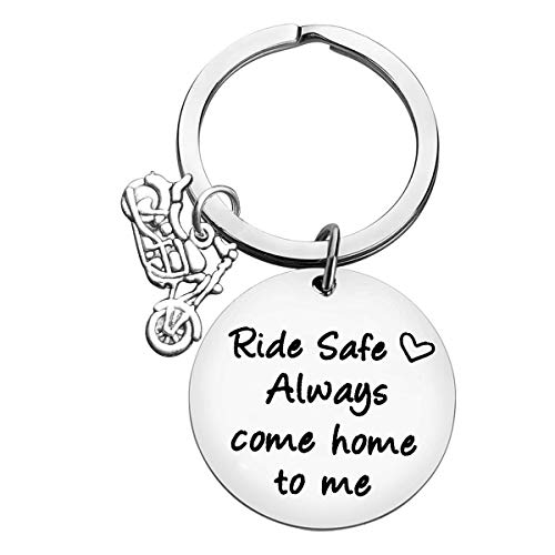 Drive Safe Keyring Biker Motorcycle Keychain for Husband Dad Boyfriend Valentines Day Birthday Gifts Ride Safe Always Come Home to Me