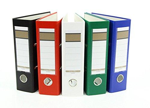 5x Ordner / DIN A5 / 75mm / Farbe: je 1x weiß, grün, blau, rot und schwarz