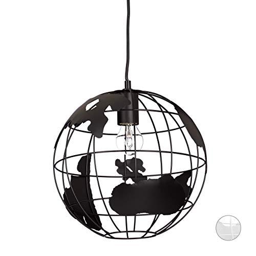 Relaxdays Lámpara de techo, Globo terráqueo, Diseño, Ajustable, Metal, Negro, diámetro 30 cm