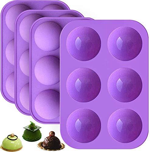 Moule de cuisson en silicone semi-boule, NALCY Moule en silicone semi-sphérique moyen, Trous Silicone Sphère Moule, Hémisphère Chocolat Gâteau de 4 paquets, Moule à Donut en silicon, Sans BPA - 6 cavi