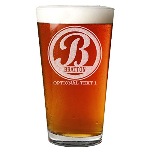 Personalized Etched Monogram 16oz Pint Glass