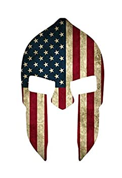 NI420 Spartan Helmet w/Grunge Style American Flag Decal Sticker   5.5-Inches By 3.25-Inches