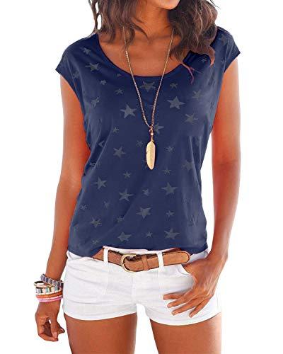 YOINS T-Shirt Damen Shirt Oberteile Sexy Oberteil für Damen Tops Sommer Einfarbig Ärmellos Rundhals mit Sterne Neu-Dunkelblau M