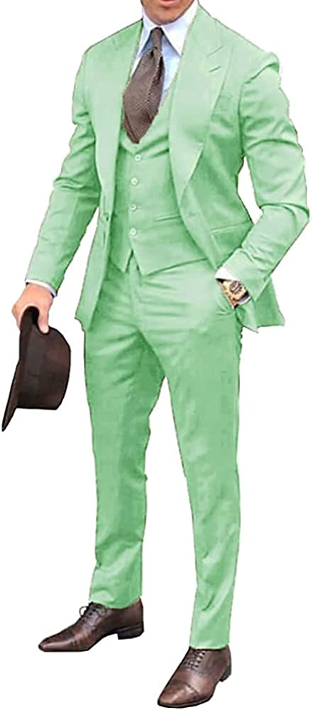 Men's Groomsmen Suits Tuxedos 3 Pieces for Wedding Casual Business Blazer Sets