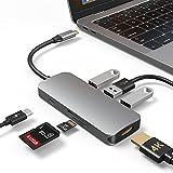 HUB USB C para Macbook, adaptador HUB tipo C con 4K HDMI, puerto USB 3.0, lector de tarjetas, puerto TF, carga PD de 100W, concentrador de datos ultra delgado para Mac Pro/mini, iMac Pro, Surface