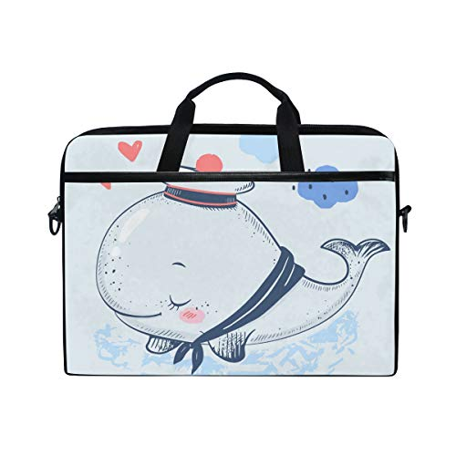 WowPrint Laptop Sleeve, Cute Ocean Animal Fish Whale Laptop Case Shoulder Strap with Handle Portable Notebook Computer Bag for 13 13.3 14 15 inch