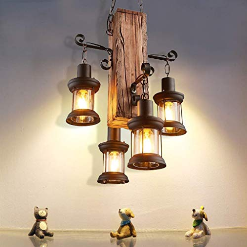 UWY Lámpara Colgante de Madera Industrial Retro Vidrio de Metal Antiguo 4 Luces Lámpara Colgante Iluminación Decorativa Edison Bar Sala de café Dormitorio Loft Lámpara Colgante Negro