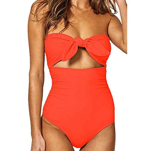 Yuelie Traje de baño de una Sola Pieza para Mujer con Lazo Sexy y Tirantes en el Abdomen, Monokini, bañador de Playa Naranja Naranja 3XL