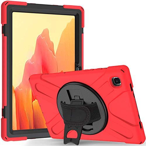 Funda para Galaxy Tab A7 SM-T500 / SM-T505, carcasa de goma antigolpes de alto rendimiento con soporte giratorio y correa para el hombro, color rojo