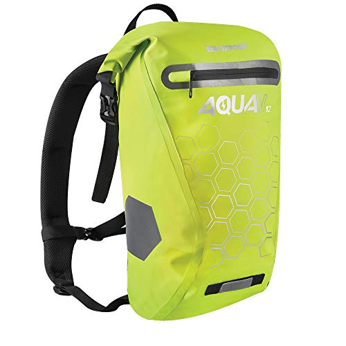 Oxford Aqua V12 Backpack - Yellow, 12L /Waterproof Water Rain Wet Weather Resistant Dry Rucksack Bag Commute Bright Safety Safe Reflective Cycling Cycle Bike Motorbike Gear Hi Viz High Visibility Pack