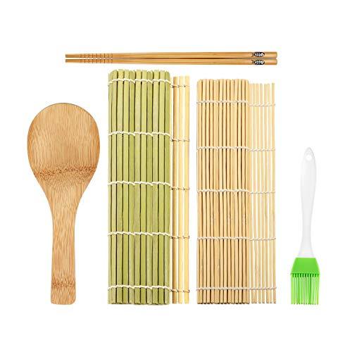 5 Pz Kit per Sushi Set di Sushi in bambù Kit per la Preparazione di Sushi Crea Facilmente Sushi Completo Tappetino Preparazione Sushi di Bambù